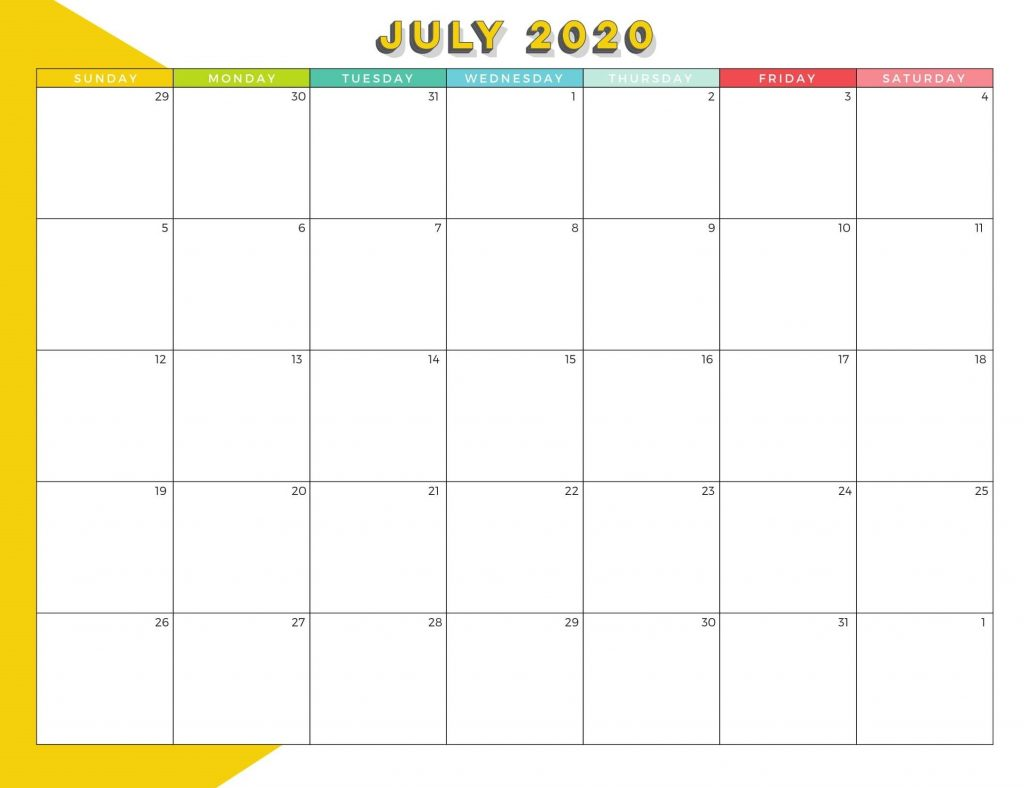 Best July 2020 Calendar Design