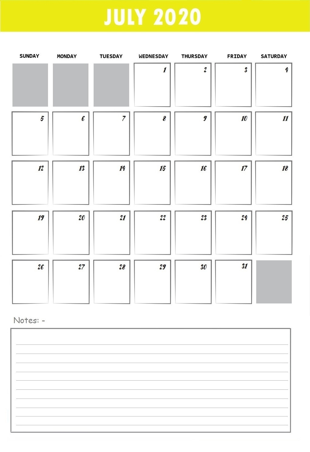 Best July 2020 Desk Calendar