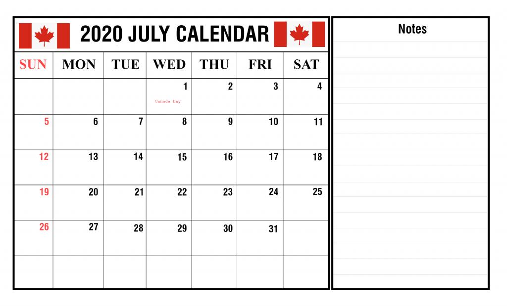 Canada July 2020 Federal Holidays