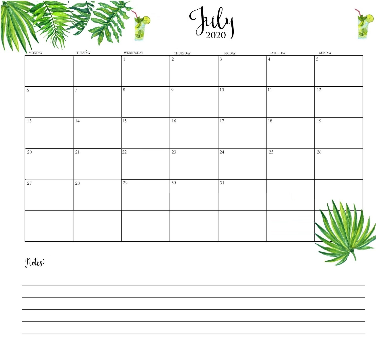 Cute July 2020 Desk Calendar
