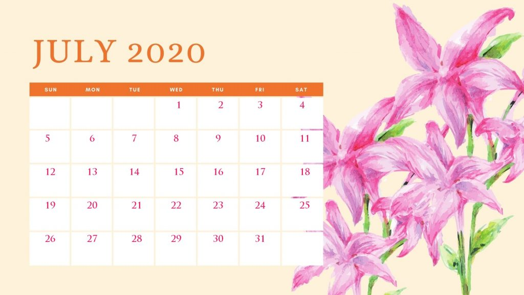 Cute July 2020 Flower Calendar