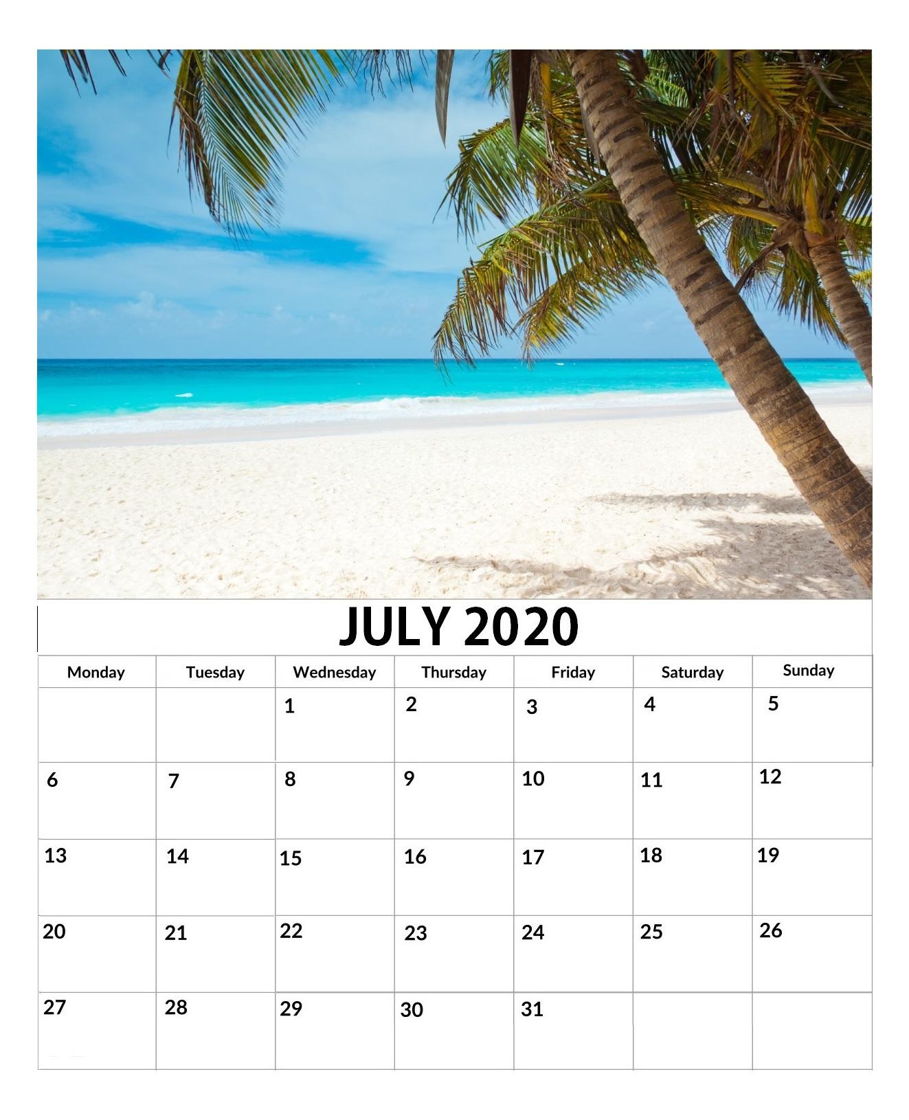 Cute July 2020 Wall Calendar