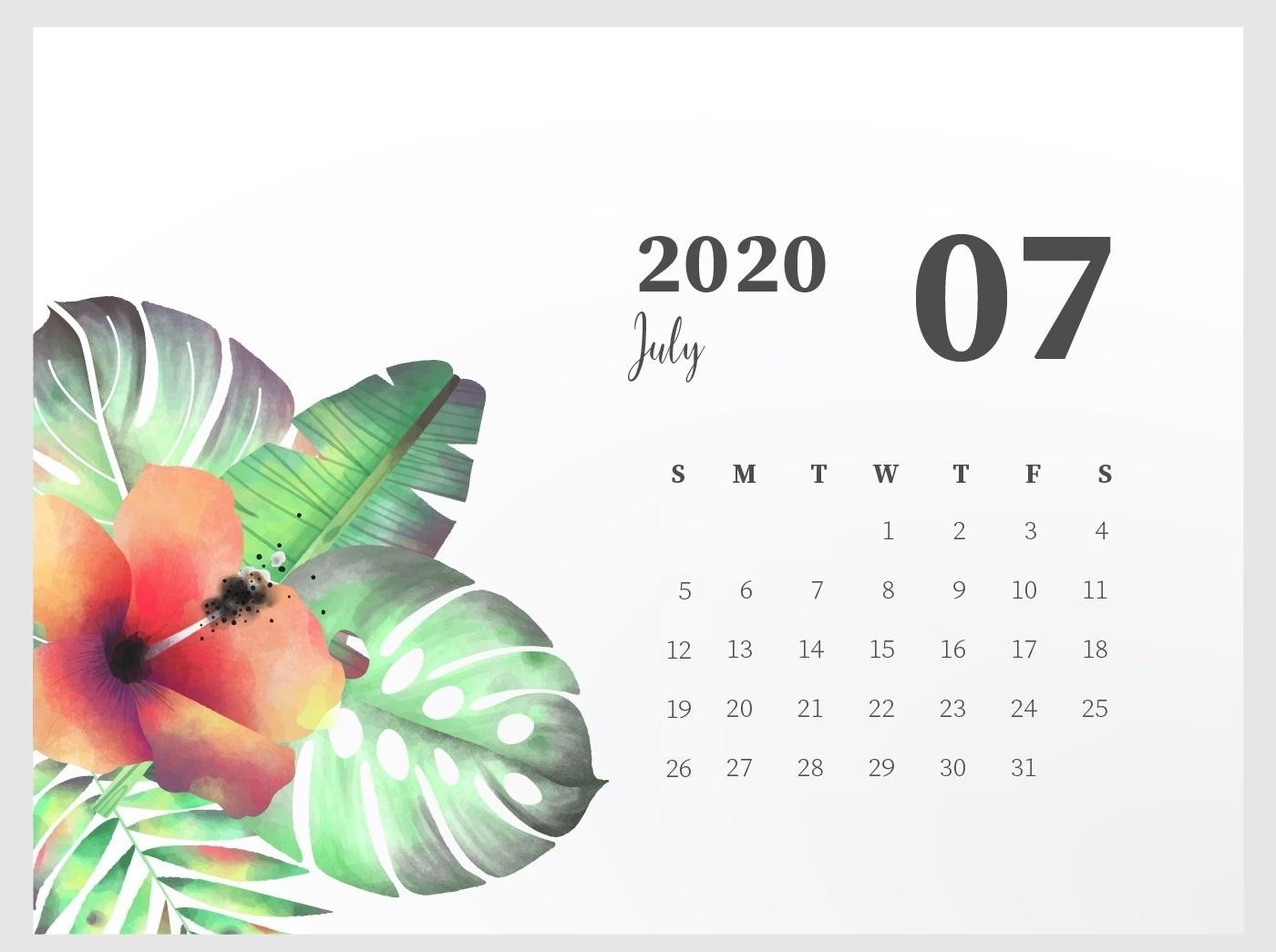 Floral July 2020 Desk Calendar