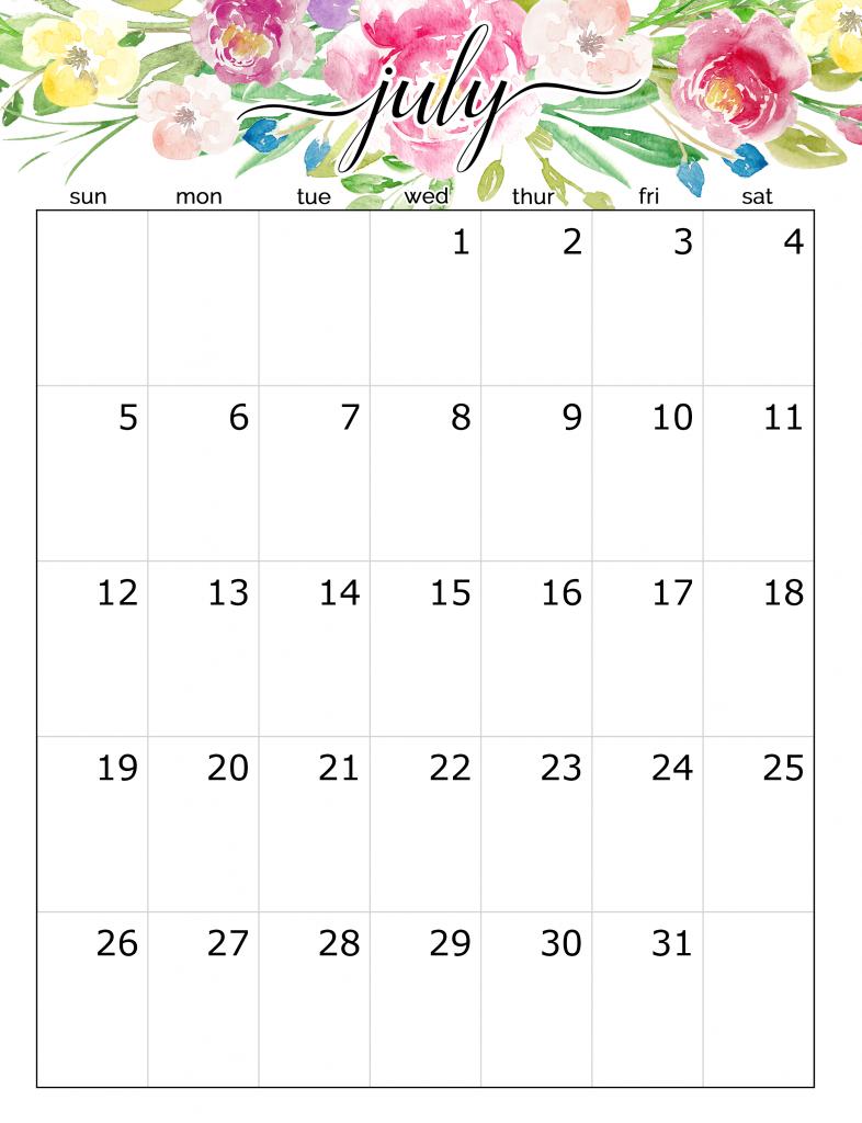 Floral July 2020 Wall Calendar