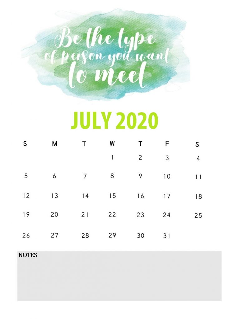 Free July 2020 Saying Lines Calendar