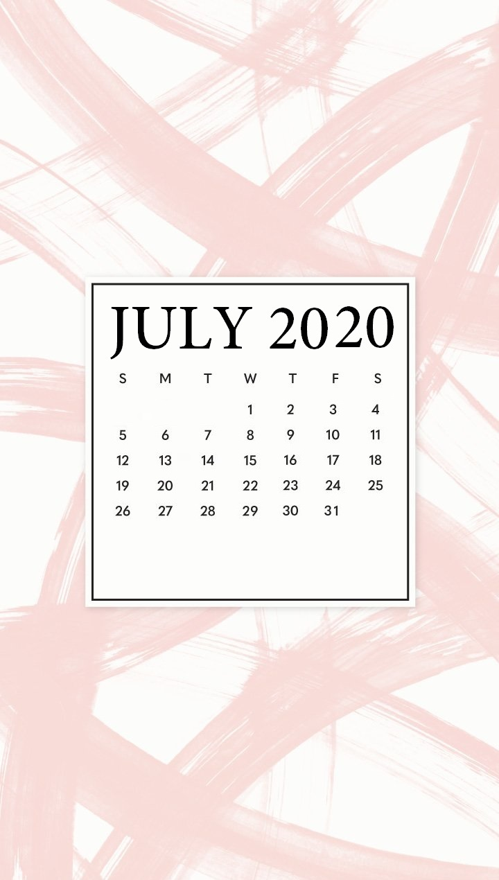 Free July 2020 iPhone Calendar