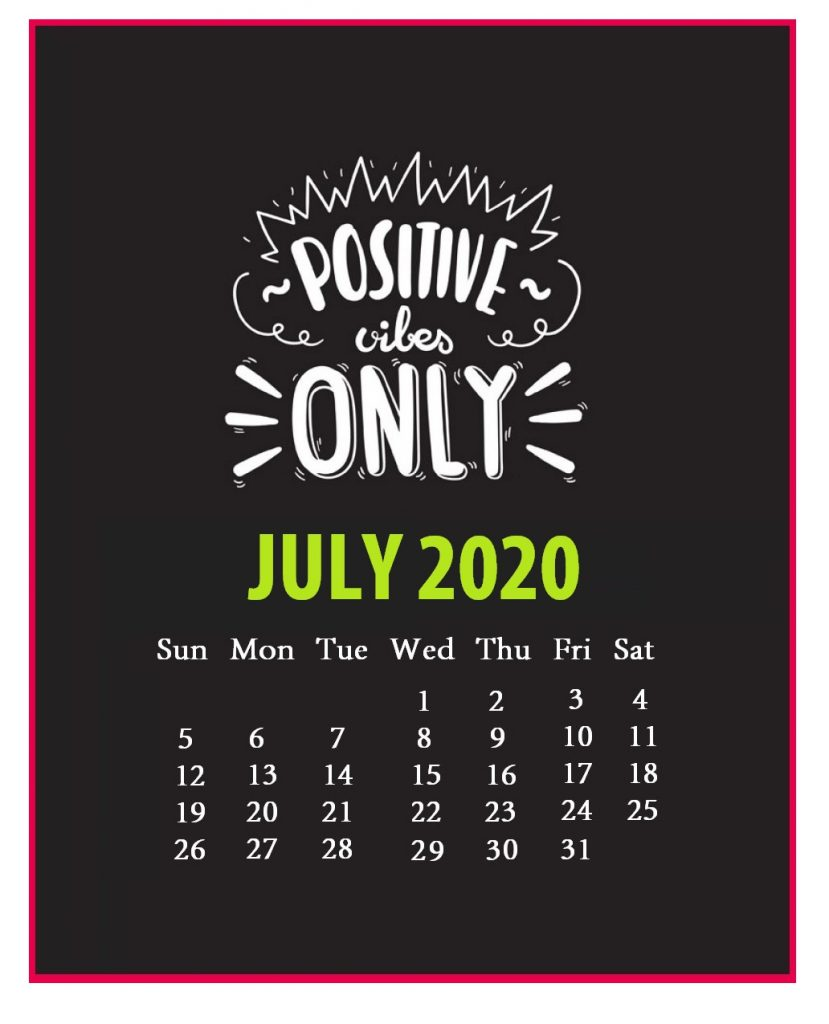 Inspirational July 2020 Quotes Calendar