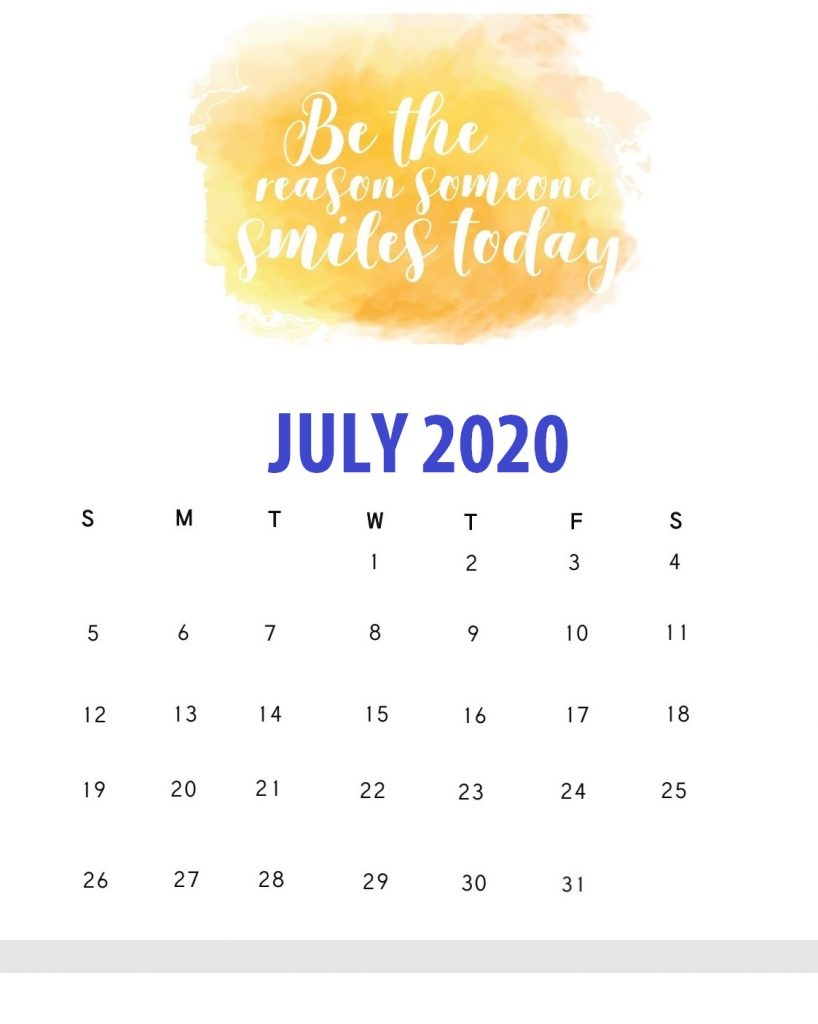 Inspiring July 2020 Quotes Calendar