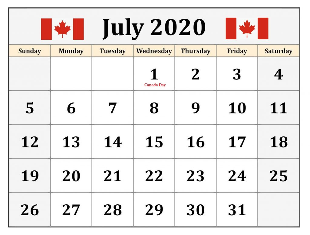 July 2020 Calendar Canada