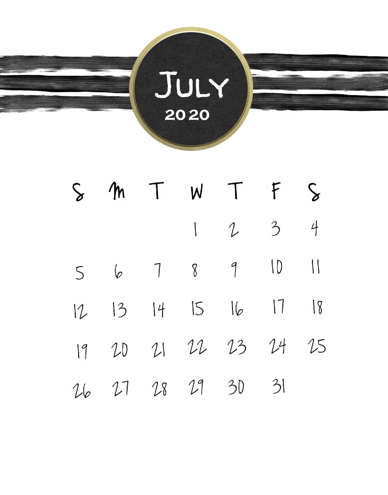 July 2020 Calendar For Wall