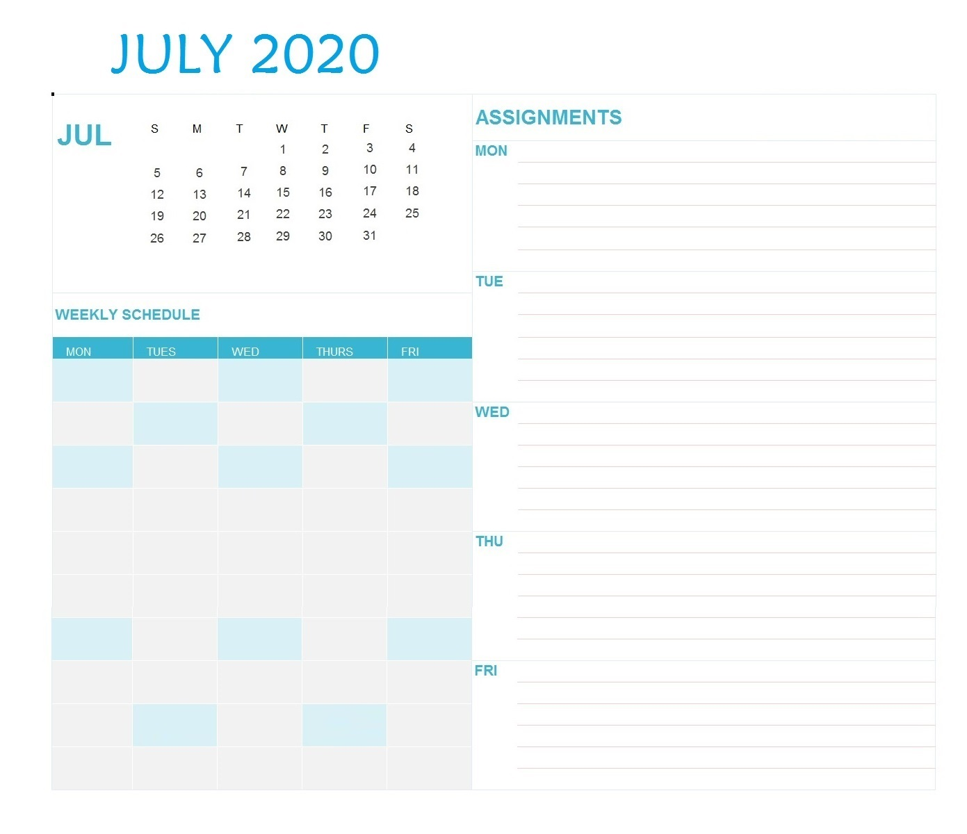 July 2020 Desk Planner Template