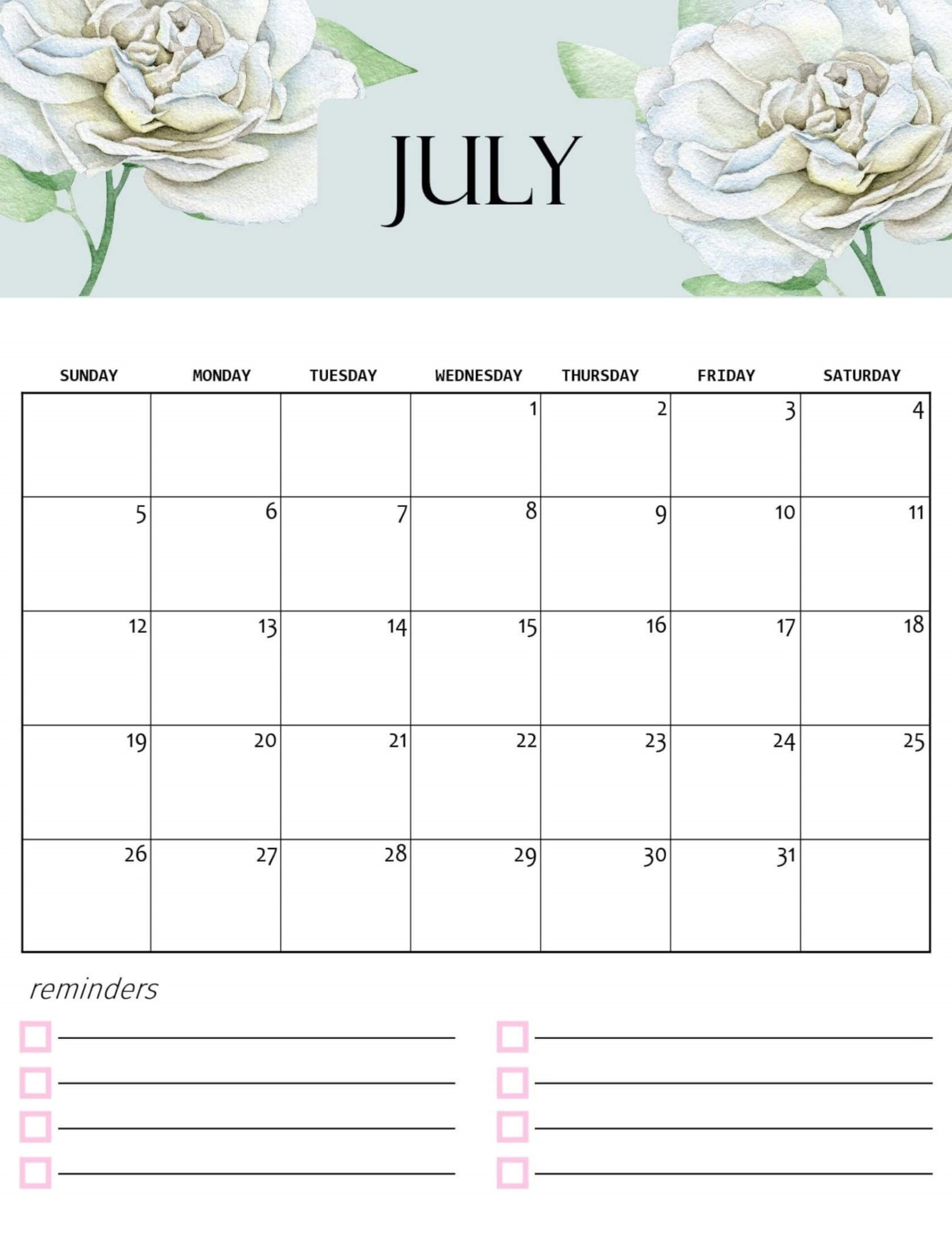 July 2020 Flower Calendar Design