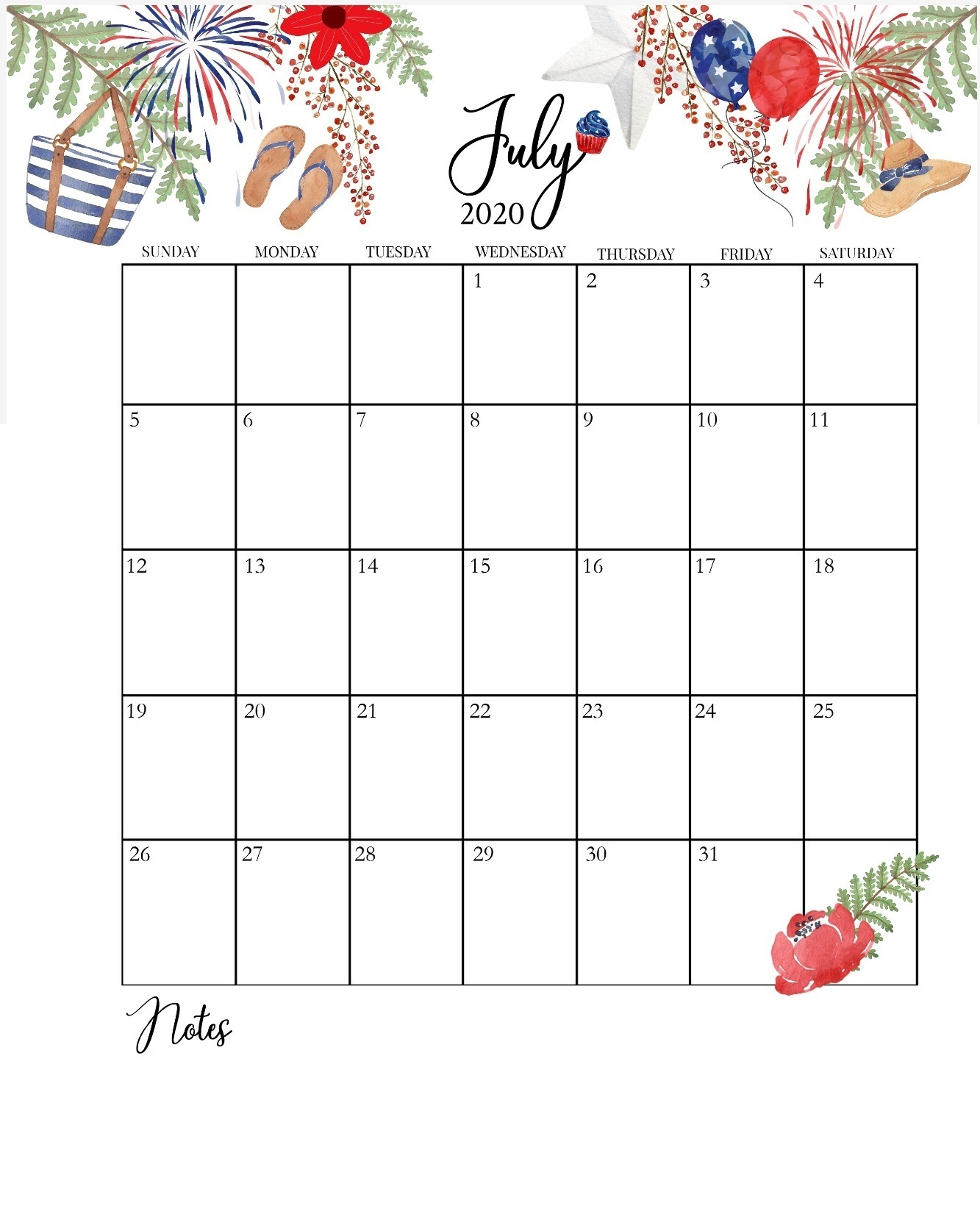 July 2020 Home Desk Calendar
