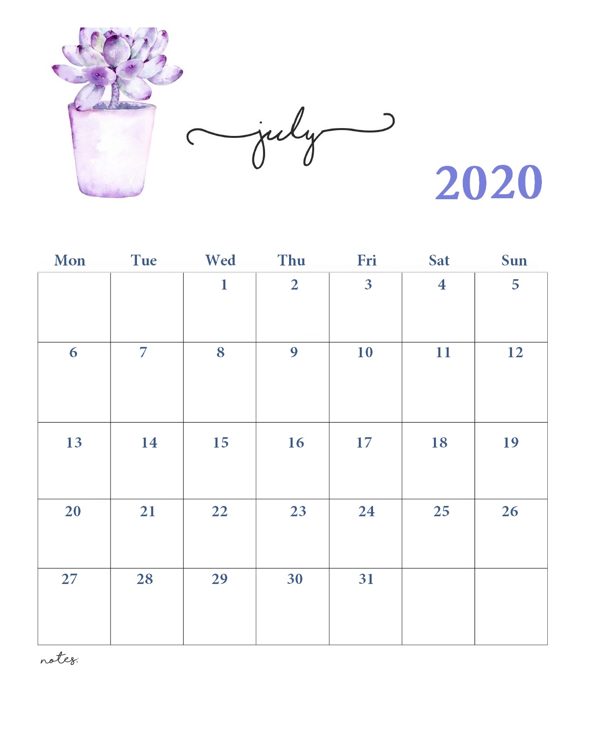July 2020 Office Desk Calendar