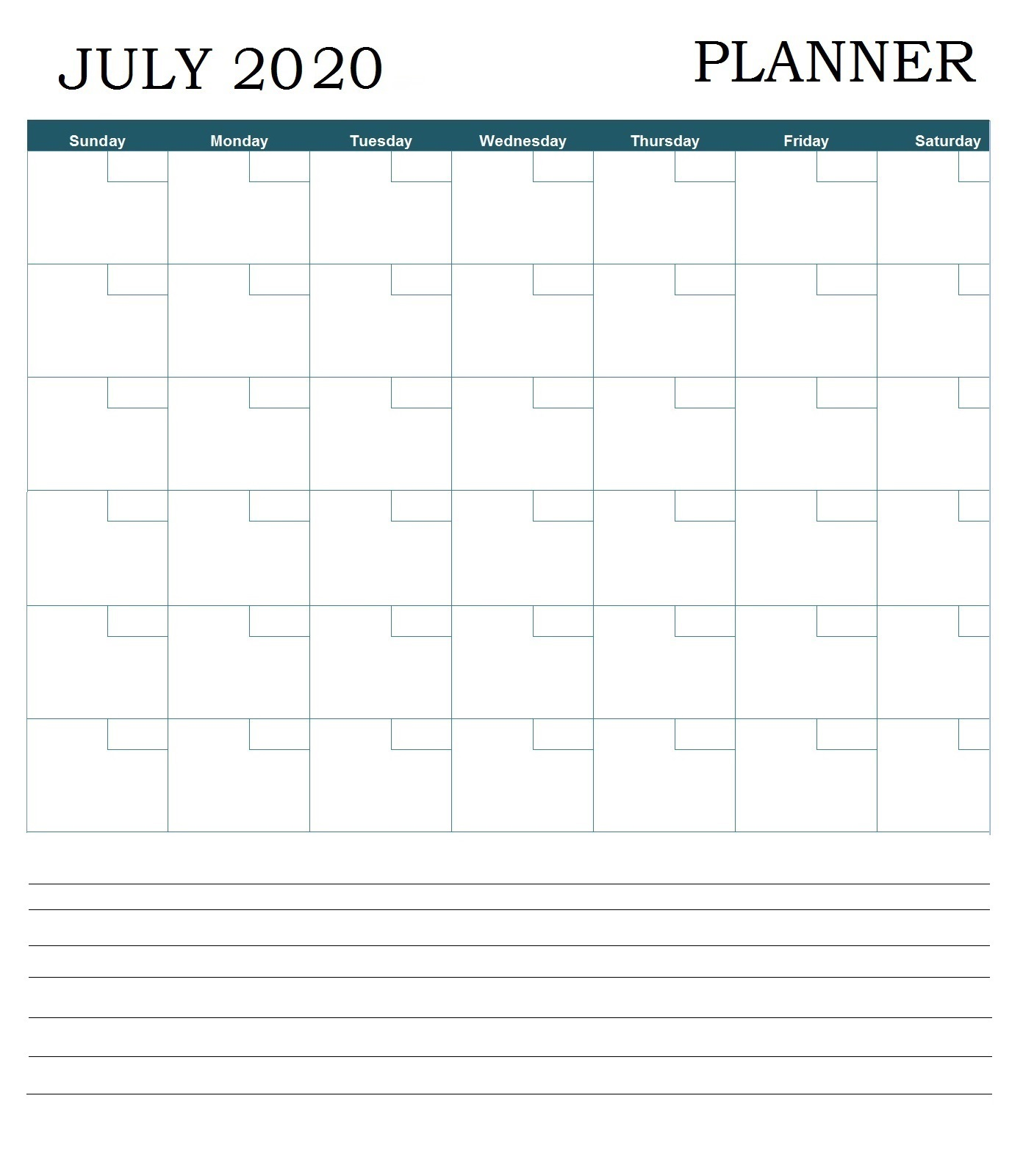 July 2020 Professional Desk Calendar