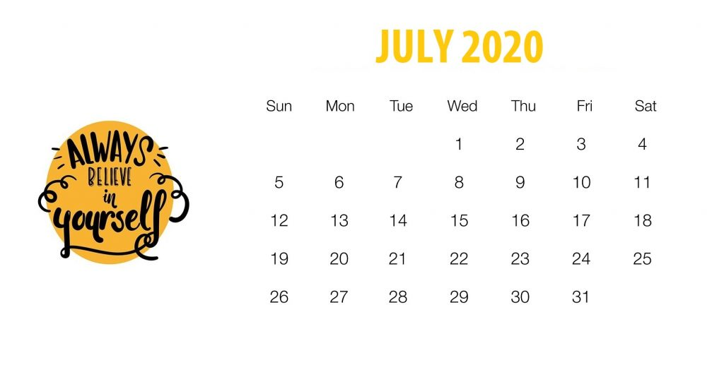 July 2020 Quotes Calendar Template