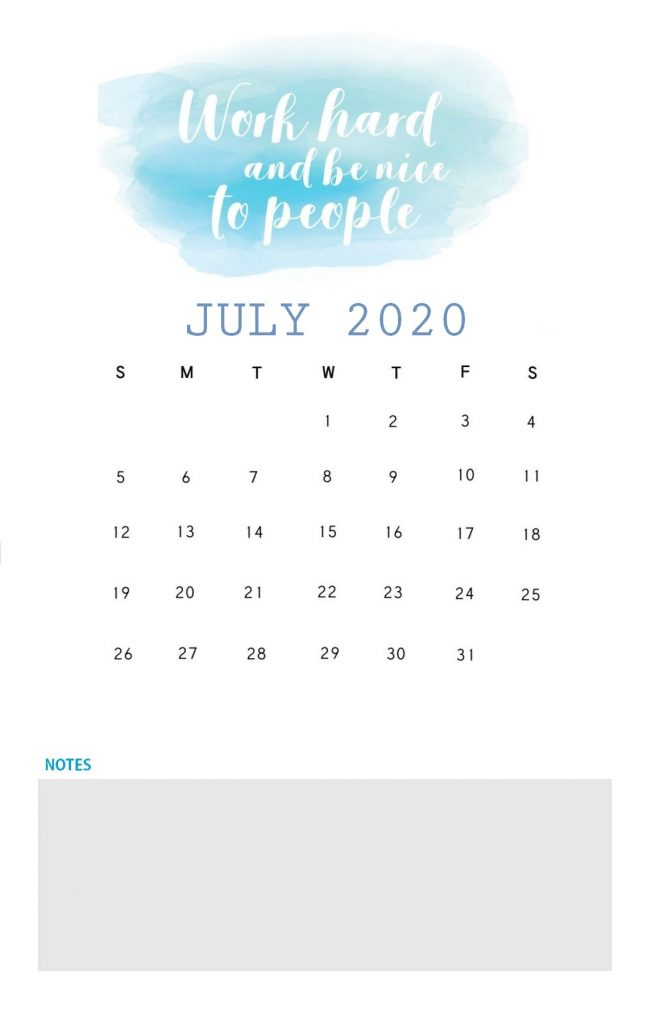 July 2020 Quotes Calendar