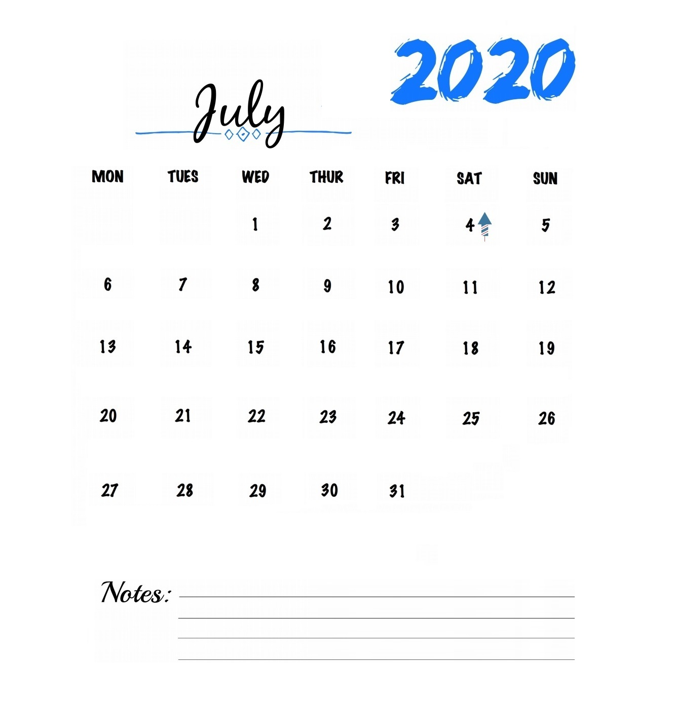 July 2020 Table Calendar
