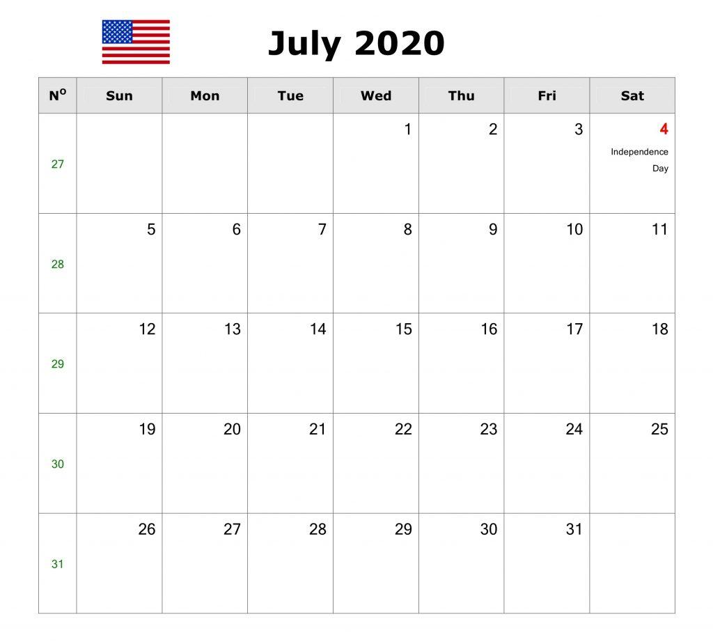 July 2020 USA Federal Holidays