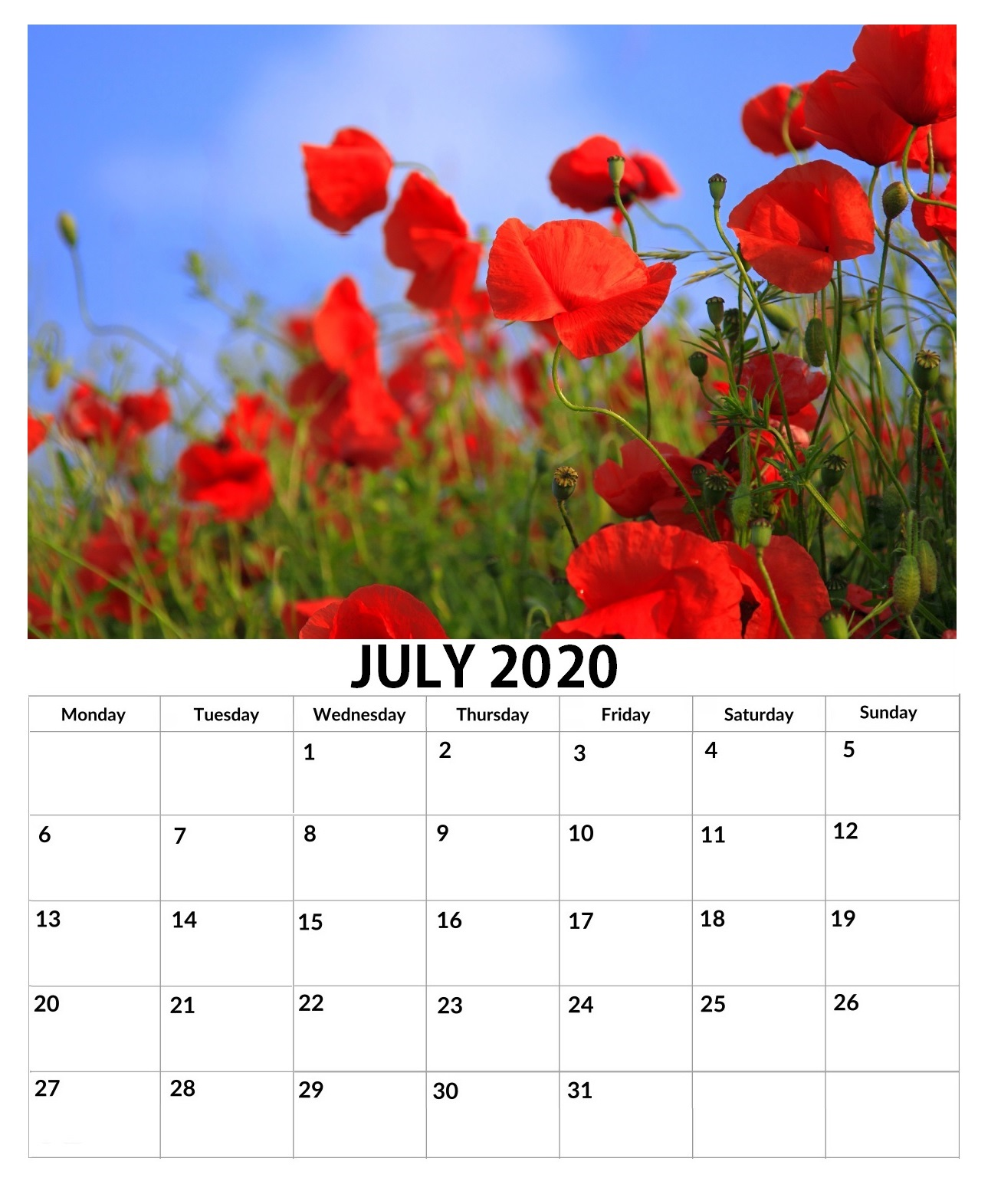 July 2020 Wall Floral Calendar