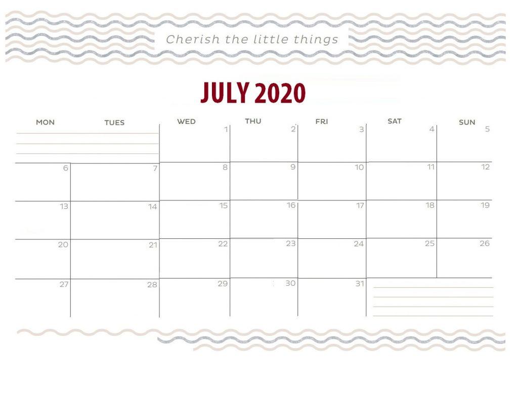 July 2020 Wisdom Quotes Calendar