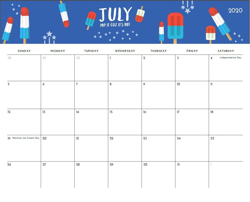Latest July 2020 Calendar Cute