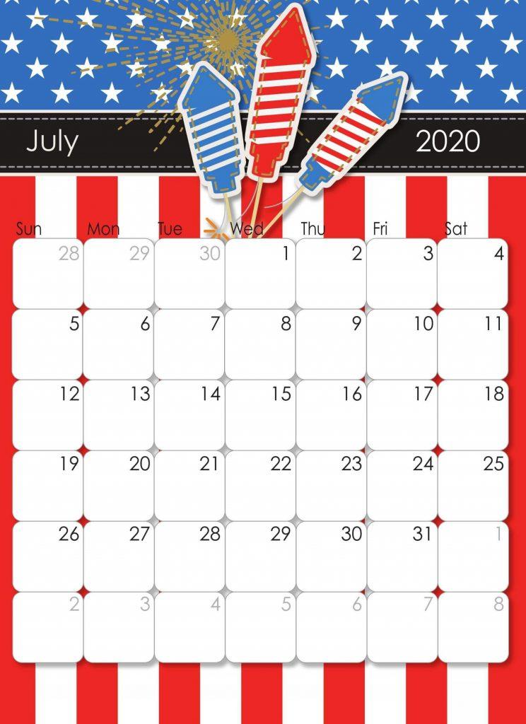 Latest July 2020 Wall Calendar