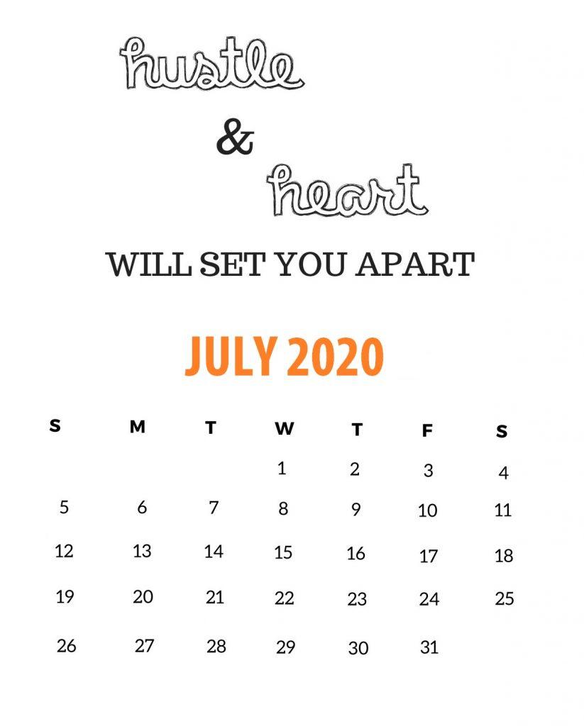 Motivational July 2020 Calendar