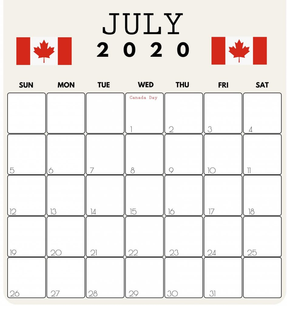 Print July 2020 Canada Calendar