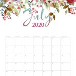 Print July 2020 Cute Calendar