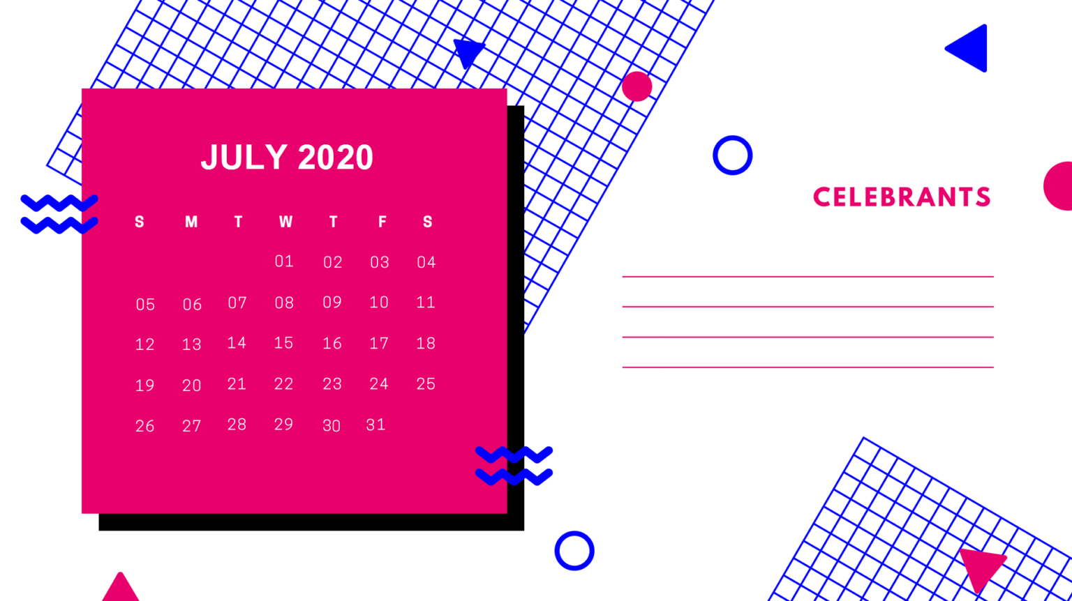 Printable July 2020 Desk Calendar