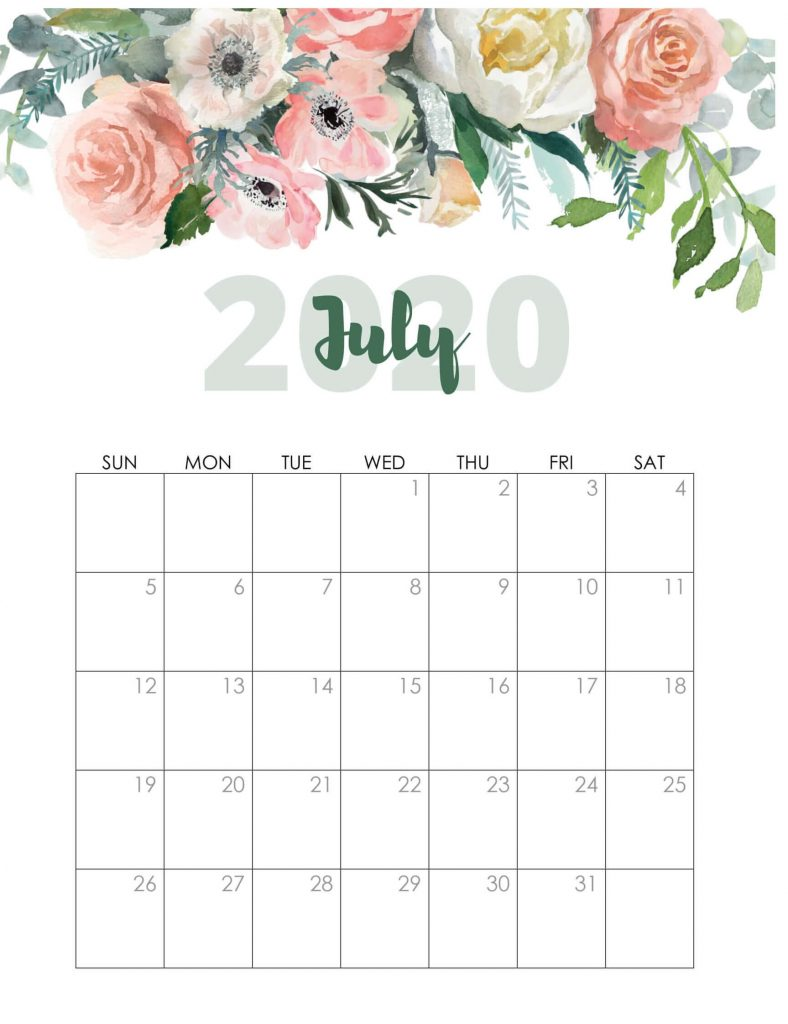 Watercolor July 2020 Cute Calendar