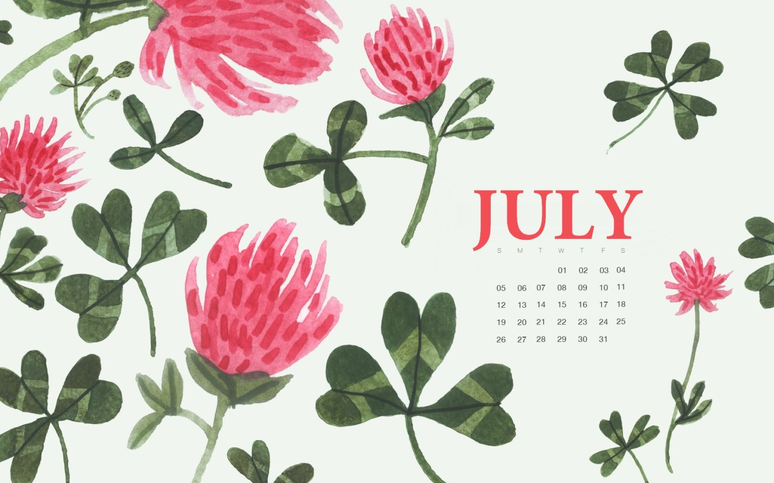 Watercolor July 2020 Desktop Wallpaper
