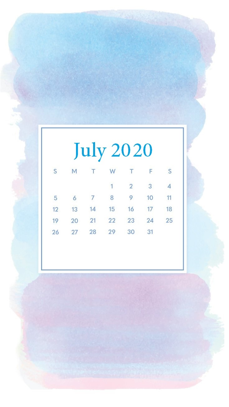 Watercolor July 2020 iPhone Wallpaper
