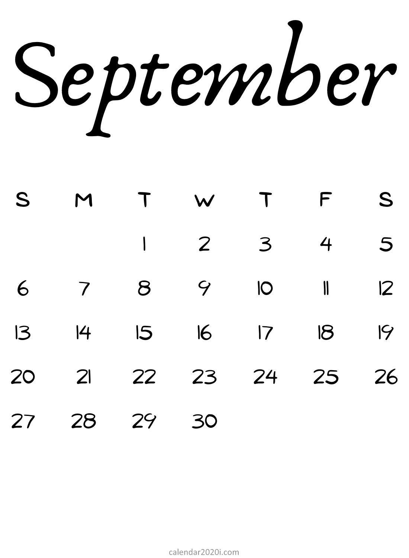 2020 September Blank Calendar Download