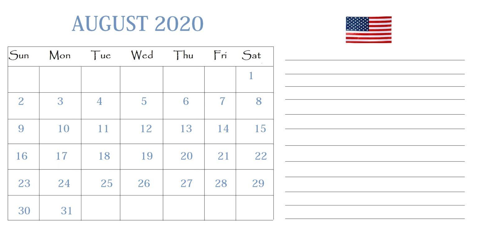 August 2020 Calendar United States