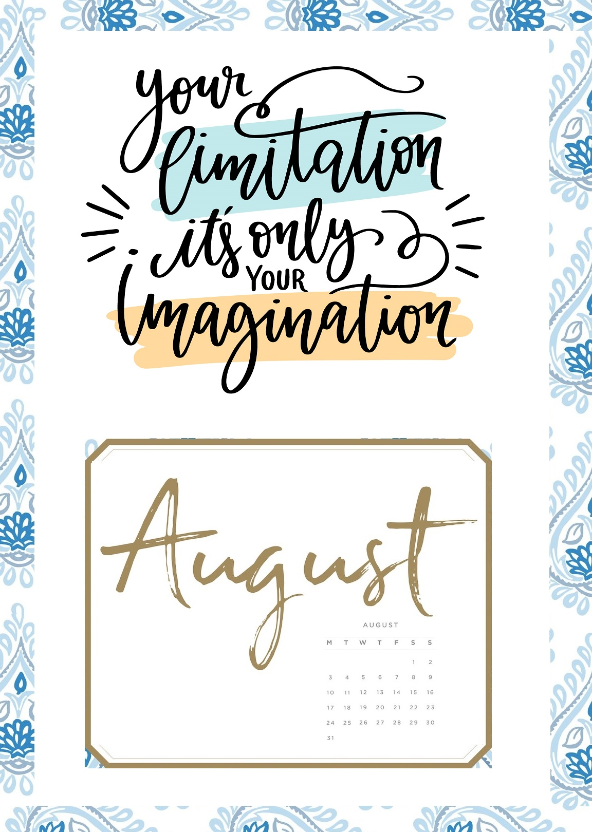 August 2020 Calendar With Quotes