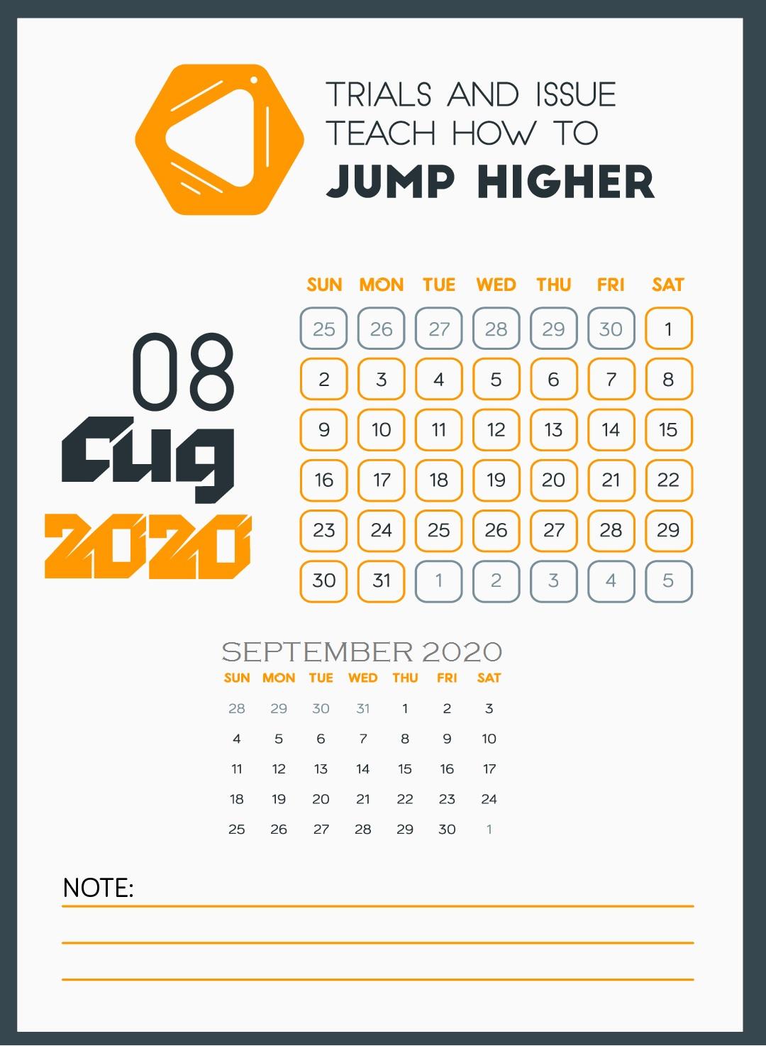 August 2020 Quotes Calendar