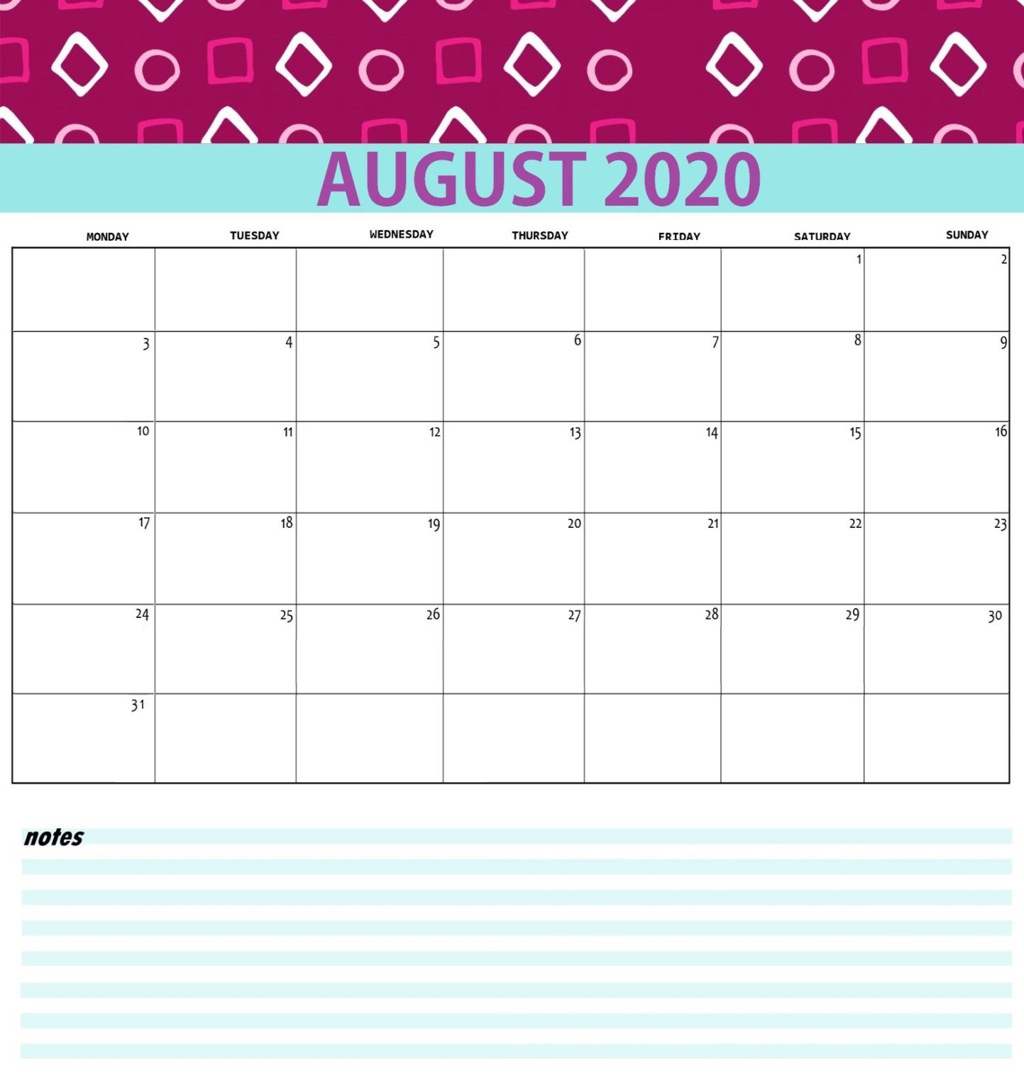 Best August 2020 Calendar Printable