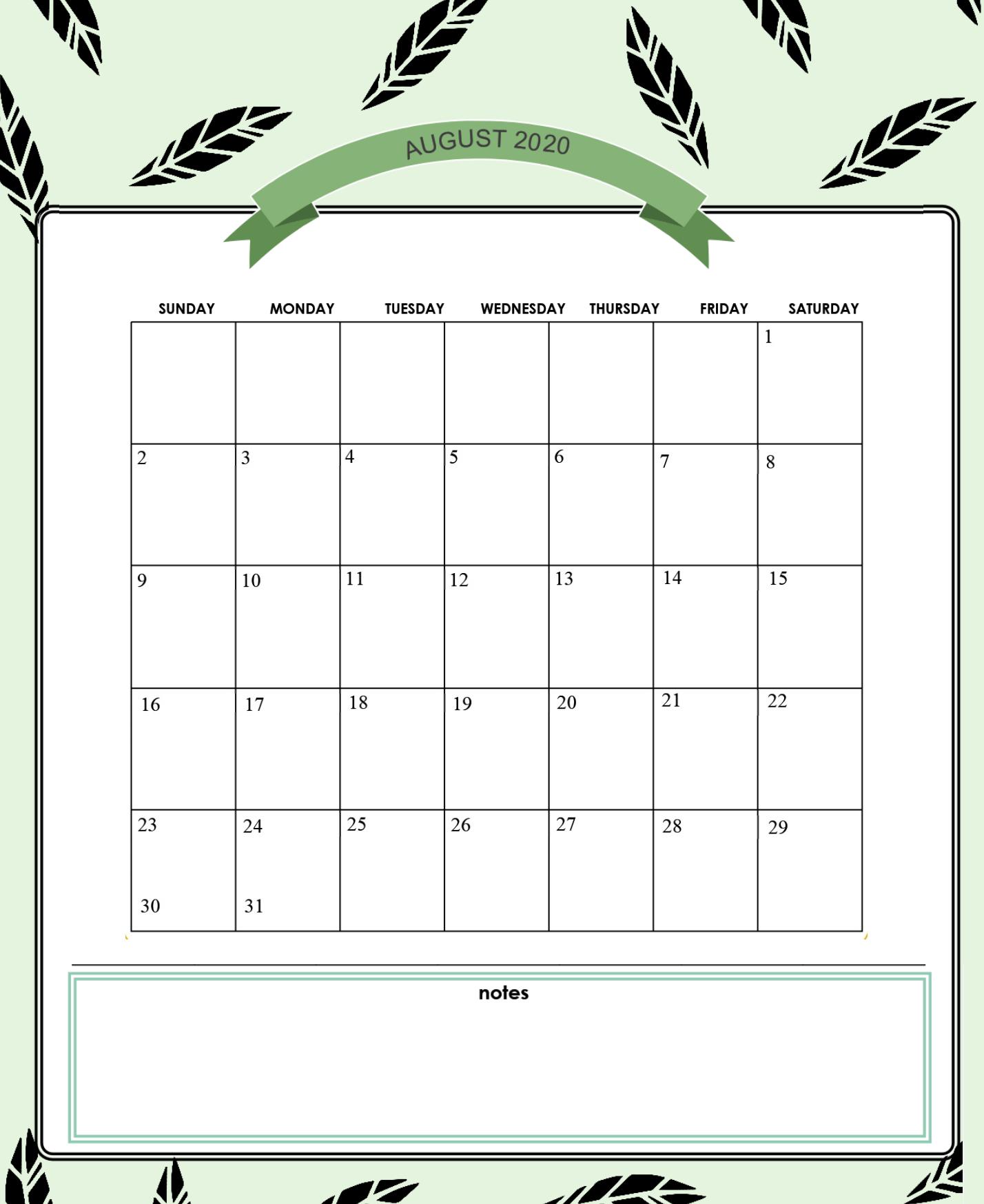 Best August 2020 Cute Calendar