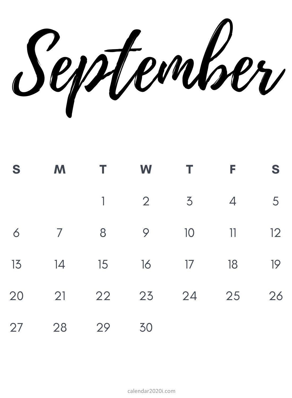 Blank September 2020 Calendar Printable