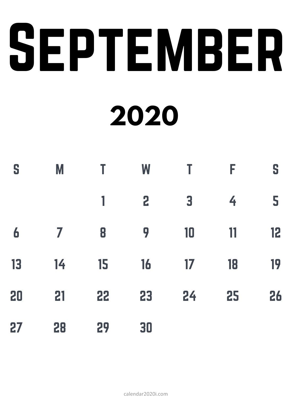Blank September 2020 Calendar Template