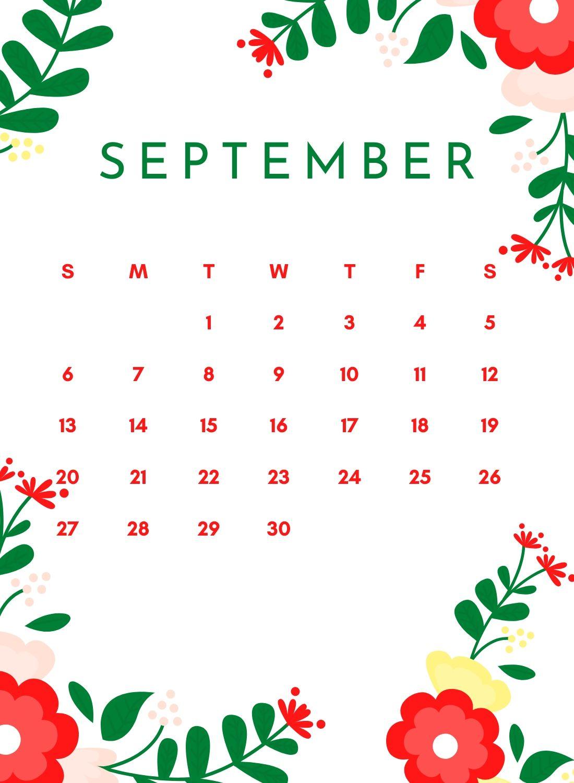 Cute September 2020 Flower Calendar