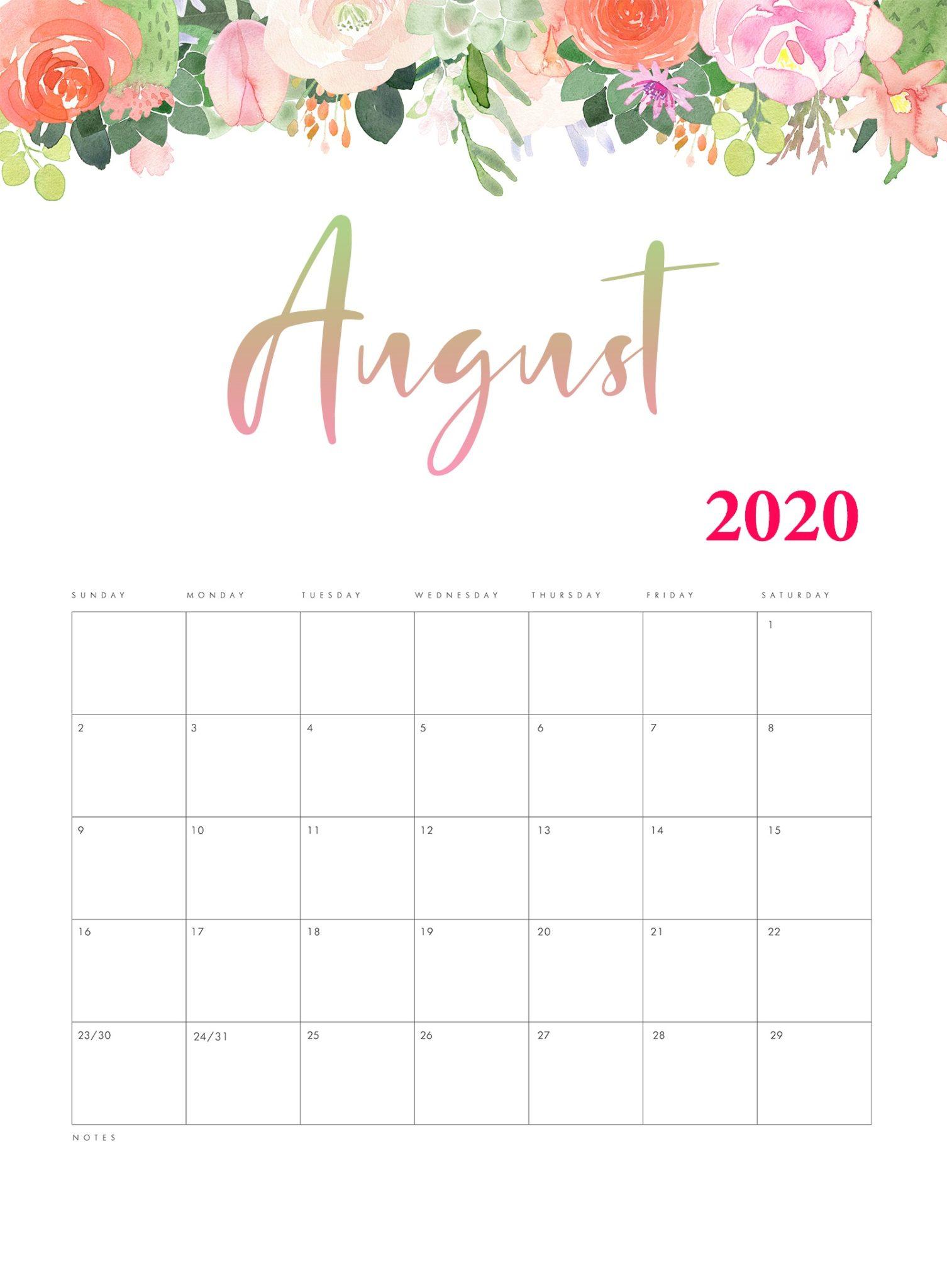 Download August 2020 Cute Calendar