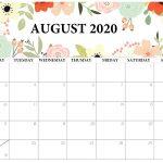 Floral August 2020 Cute Calendar