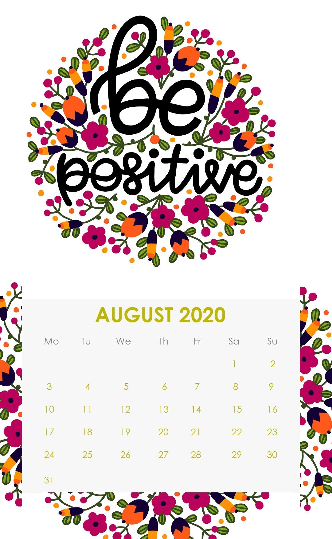 Floral August 2020 Quotes Calendar