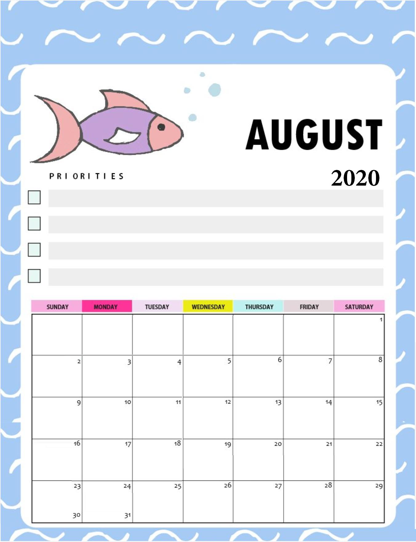 Free August 2020 Cute Calendar