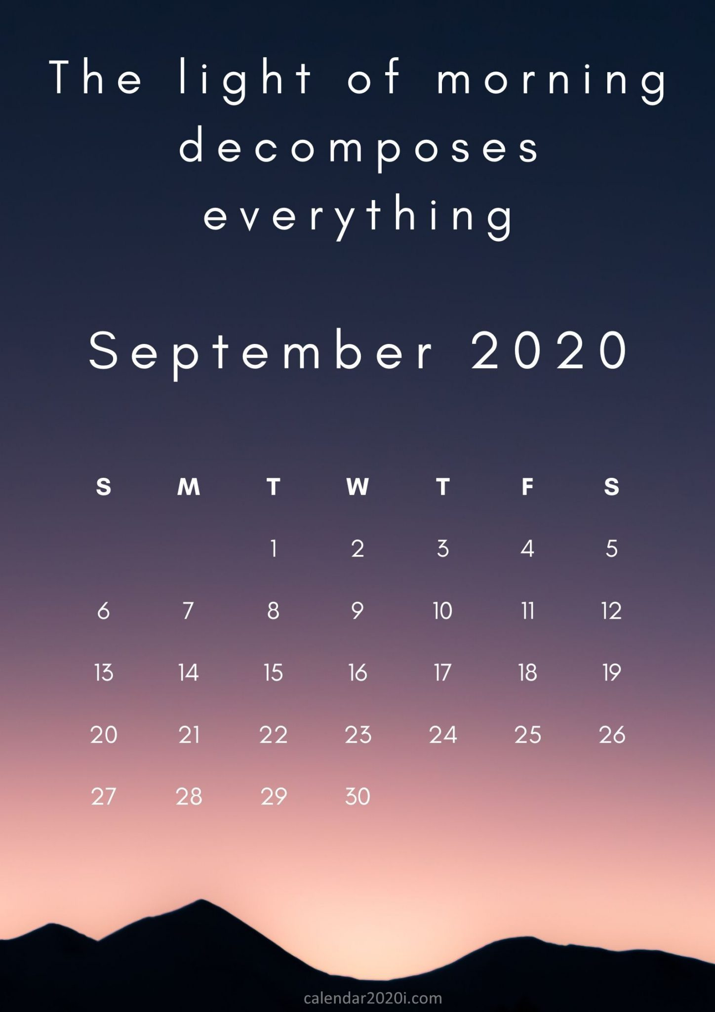 Free Inspiring September 2020 Calendar
