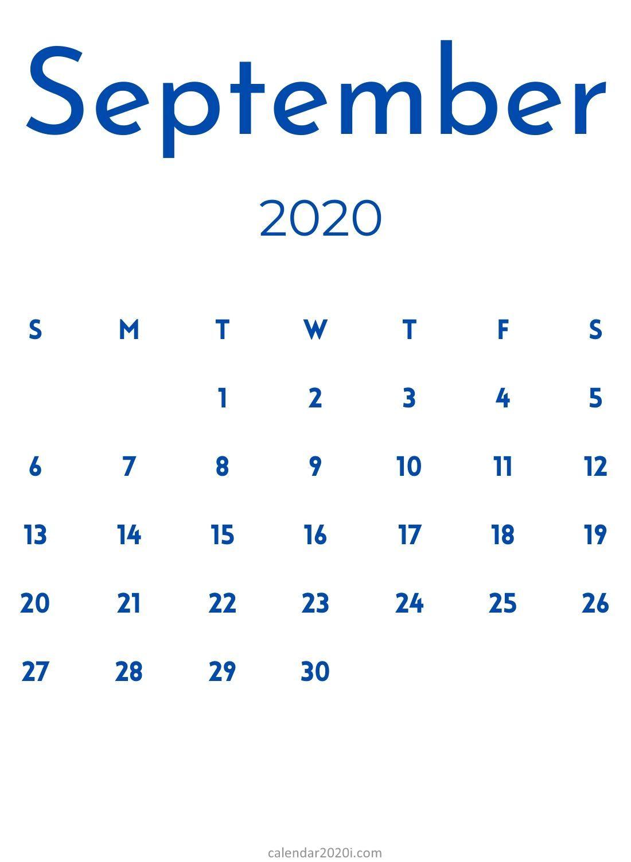 Free September 2020 Blank Calendar