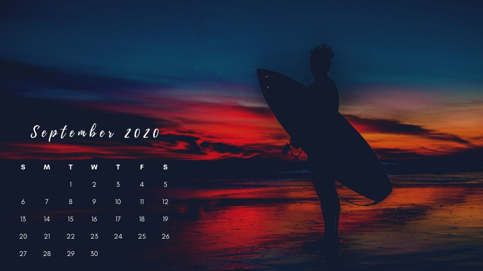 Free September 2020 Calendar Wallpaper